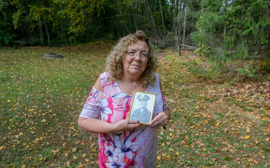 Lois A. Marandola holds a picture of her uncle, Army 1st Lt. Anthony R. Mazzulla, in her backyard. Army 1st Lt. Anthony R. Mazzulla was listed as missing on Dec. 2, 1950. His remains were recently identified by the Defense POW/MIA Accounting Agency and returned to Rhode Island.