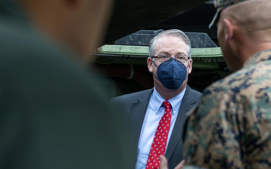 Thomas W. Harker, acting secretary of the Navy, speaks to U.S. Marines at Marine Corps Base Camp Pendleton, California on April 22, 2021.
