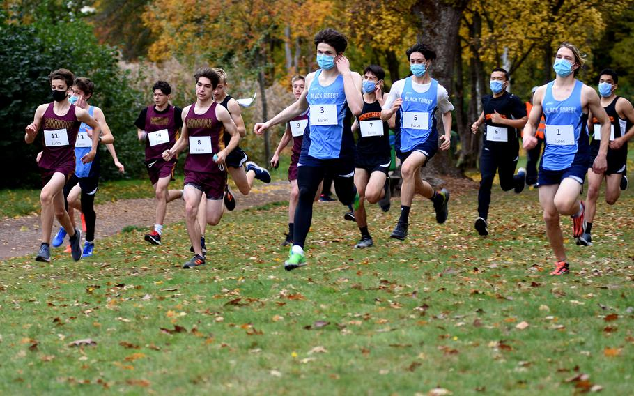Runners from Baumholder, Spangdahlem and Black Forest Academy compete in the small schools' race at the 2020 DODEA Europe non-virtual cross country championships