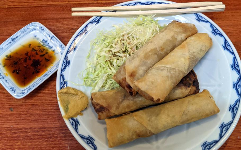 Chinese spring rolls from Fukusei, near Yokosuka Naval Base in Japan, are served with mildly spicy wasabi paste on the side.
