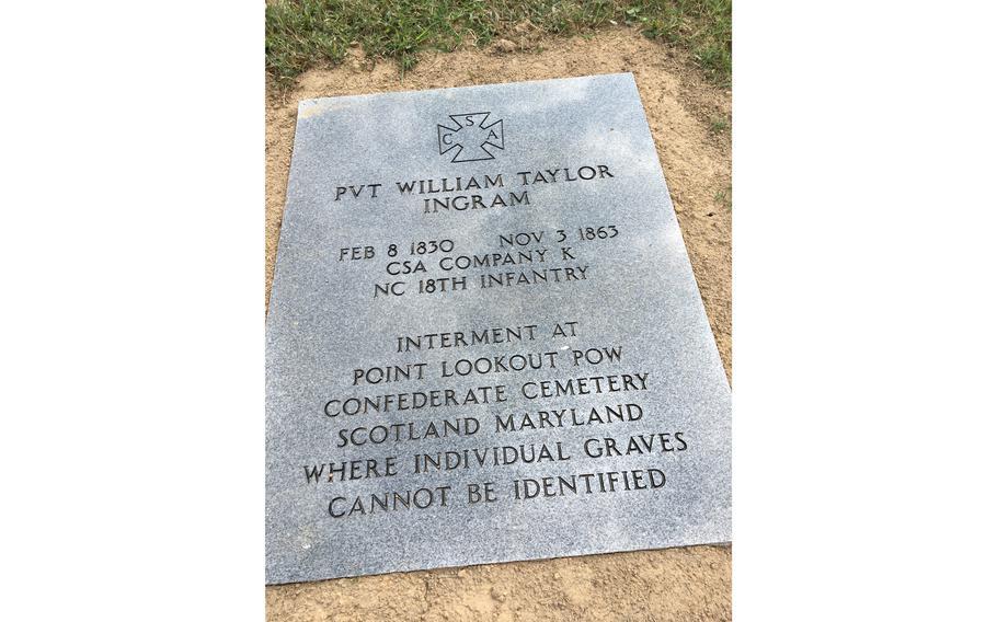 The marker honoring William Ingram in Gastonia's Hollywood Cemetery.