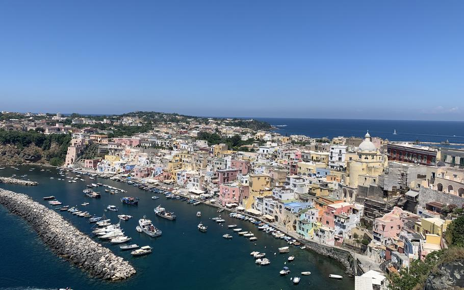 A view of Marina Corricella, the oldest village on the island of Procida. The island is off the coast of Naples in southern Italy.