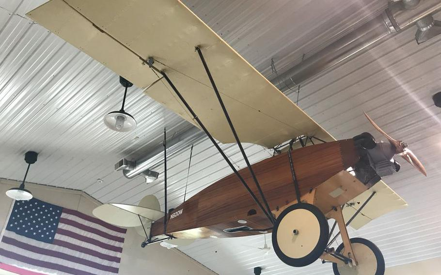 """A """"Cootie"""" replica, WACO's first plane, on display at the WACO Air Museum in Troy, Ohio."""