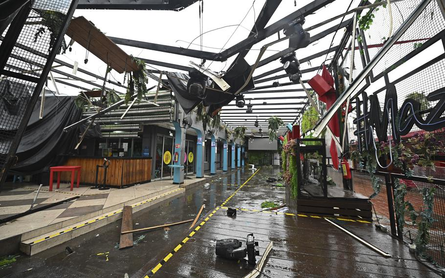 A commercial area is damaged after the passing of Hurricane Pamela in Mazatlan, Mexico, Wednesday, Oct. 13, 2021. Hurricane Pamela made landfall on Mexico's Pacific coast just north of Mazatlan on Wednesday, bringing high winds and rain to the port city.