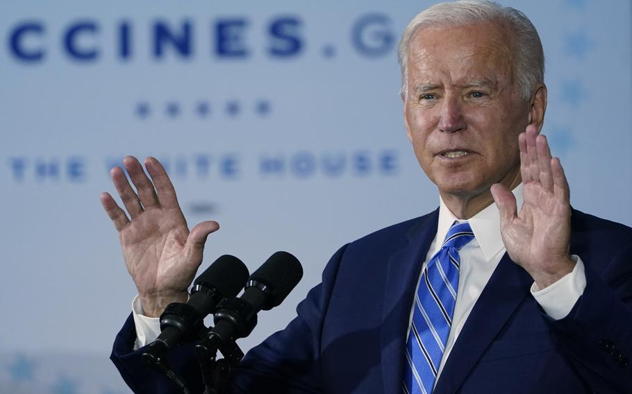 President Joe Biden speaks about COVID-19 vaccinations after touring a Clayco Corporation construction site for a Microsoft data center in Elk Grove Village, Ill., Oct. 7, 2021.