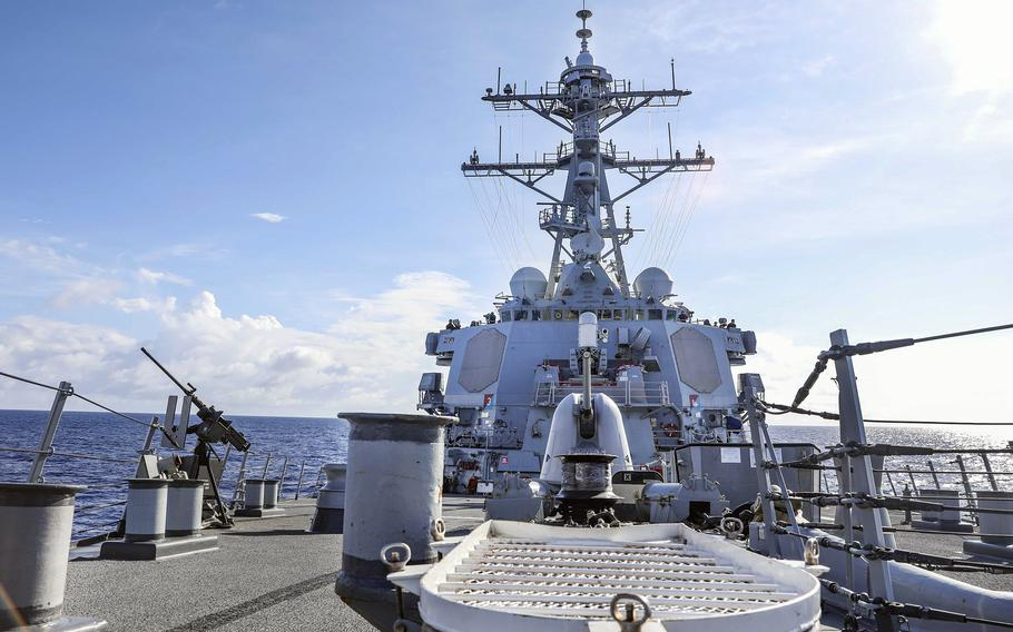 The guided-missile destroyer USS Benfold sails through the South China Sea, Wednesday, Sept. 8, 2021.