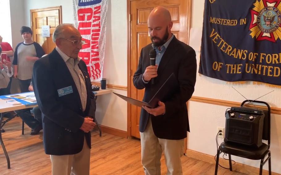 Korean War veteran John Thomas Lody, left, receives a Pennsylvania House of Representatives recognition presented by Pennsylvania state Rep. Carl Walker Metzgar, R-Somerset/Bedford, 69th District, on Tuesday Aug. 3, 2021.