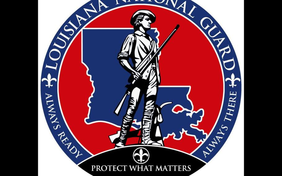 The Louisiana National Guard logo is shown in this photo illustration.
