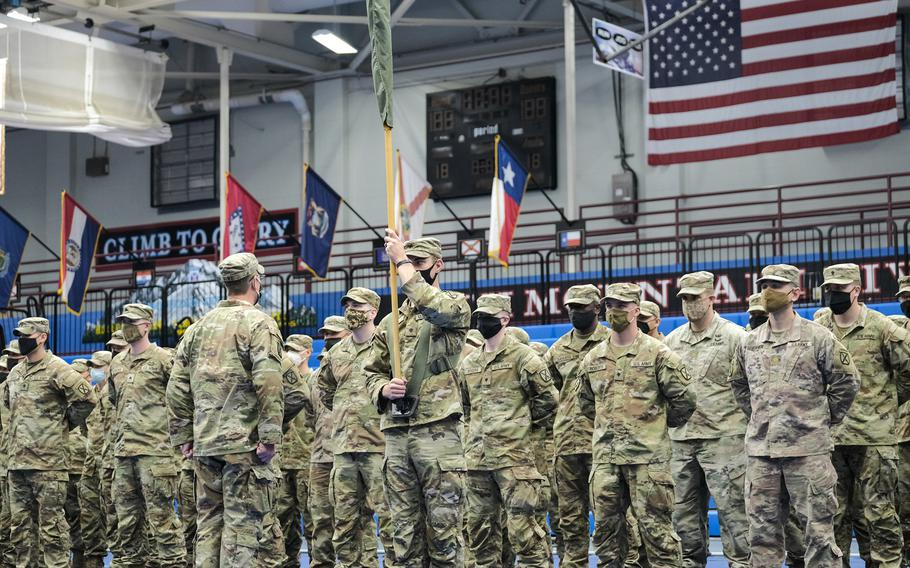 Family members and friends welcomed home from Afghanistan about 140 soldiers with the 4th Battalion, 31st Infantry Regiment, 2nd Brigade Combat Team, during the ceremony in the McGrath Sports Complex in Fort Drum, N.Y., Monday, Sept. 6, 2021.