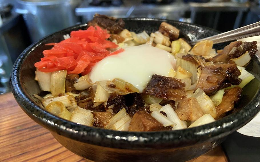 The roasted pork fillet bowl from Hayate Maru in Okinawa's American Village.