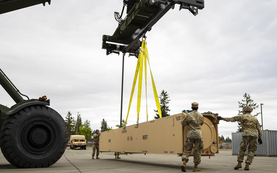 The first prototype hypersonic hardware is delivered to soldiers of 5th Battalion, 3rd Field Artillery Regiment, 17th Field Artillery Brigade at Joint Base Lewis-McChord, Wash. The Army is closer to fielding its Dark Eagle hypersonic missile, it said Oct. 7, 2021.