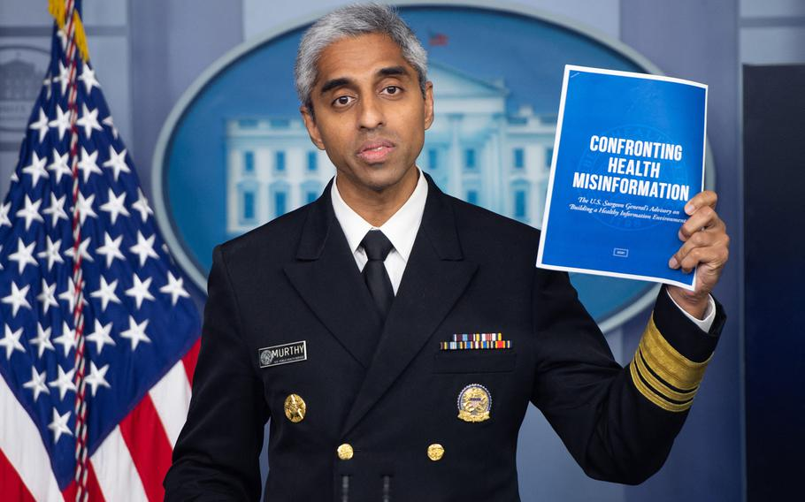 U.S. Surgeon General Dr. Vivek H. Murthy, seen here in a July 15, 2021, photo, said President Joe Biden will announce new measures to increase global supply of COVID-19 vaccines soon.