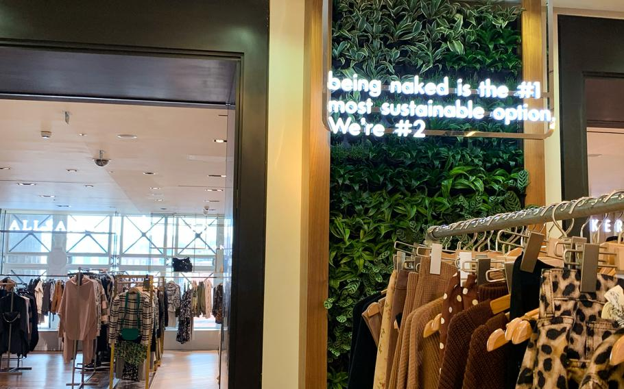 One of Selfridges' slogans that promotes its pledge to make shopping more sustainable.