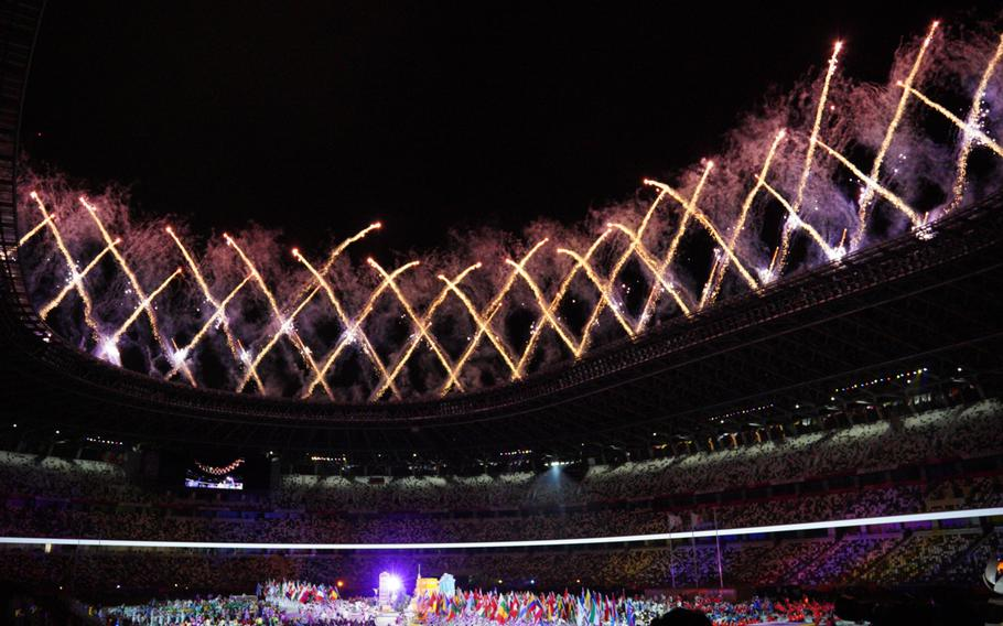 Fireworks rocket above National Stadium as the Tokyo Paralympics come to a close on Sunday, Sept. 5, 2021.