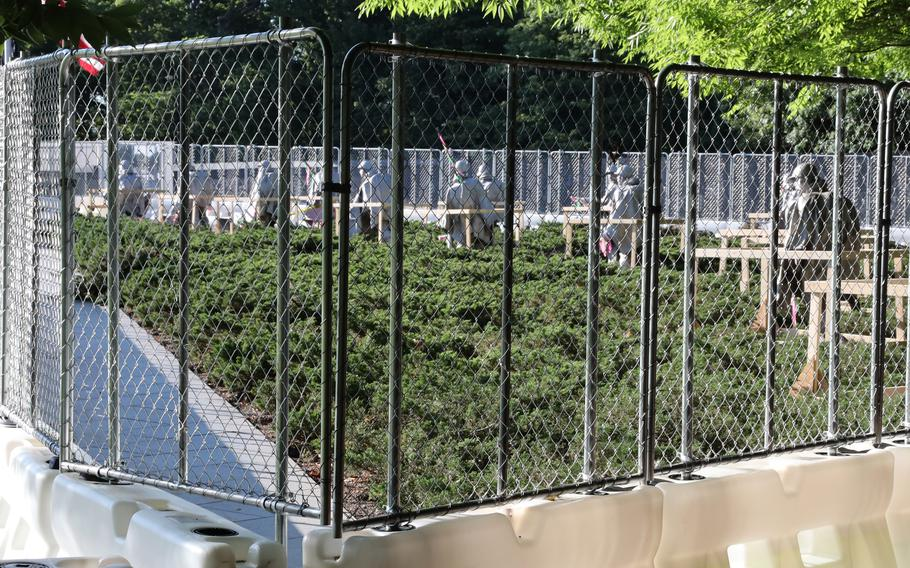 The Korean War Veterans Memorial in Washington is fenced off on May 31, 2021, as construction begins on a wall listing those killed in the 1950-1953 war,