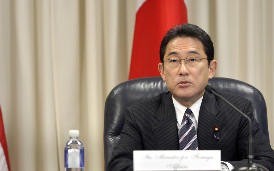 Fumio Kishida, seen here at the Pentagon in 2015, was sworn in as Japan's prime minister, Monday, Oct. 4, 2021.
