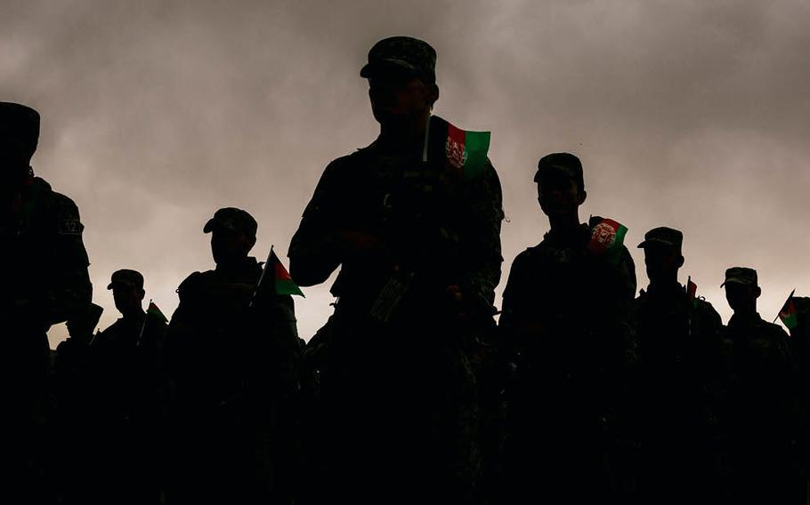Afghan security forces parade in a base in Kabul in April, just months before the Taliban took over Afghanistan.