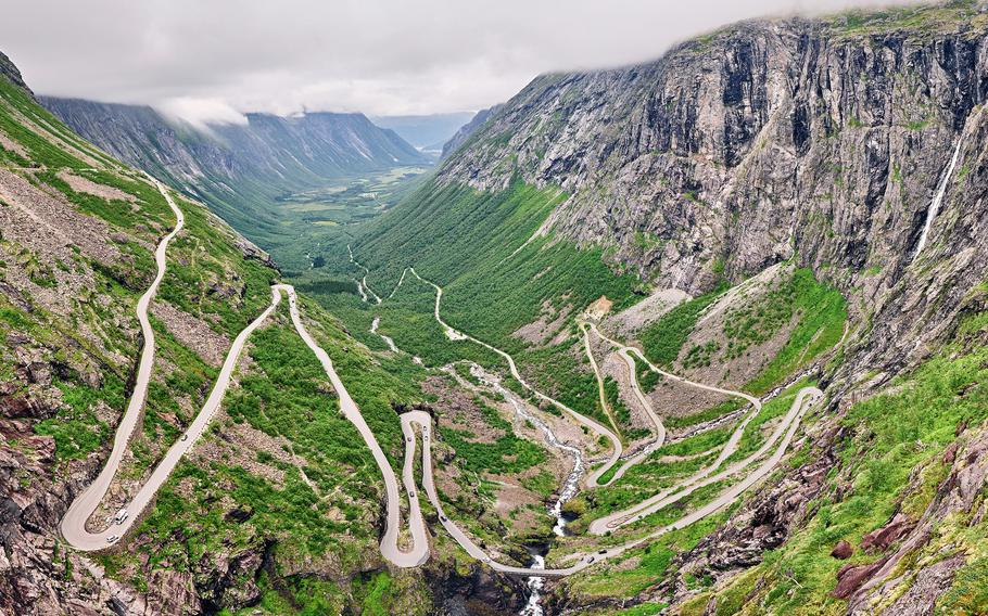 Norway's Trollstigen Mountain Road offers fantastic mountain scenery, and each of its 11 hairpin turns has its own name.