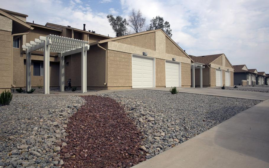Newly renovated family housing at Marine Corps Air Ground Combat Center, Twentynine Palms, Calif., in 2016. Marines gave base housing a C+ overall in the latest servicewide tenant satisfaction survey.