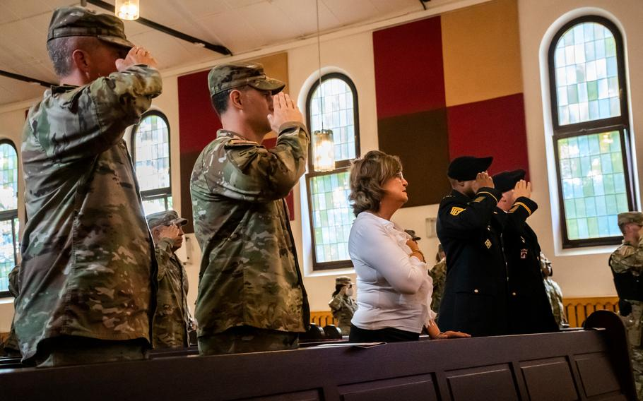 Gold Star mother Mary Aguirre-Garza attends a 9/11 memorial at Daenner Chapel in Kaiserslautern, Germany, on Sept. 10, 2021. Aguirre-Garza's son Army Cpl. Nathaniel Aaron Aguirre died in Iraq in 2006.