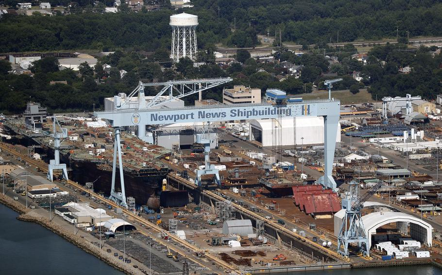 Newport News Shipbuilding is seen from above in 2019.