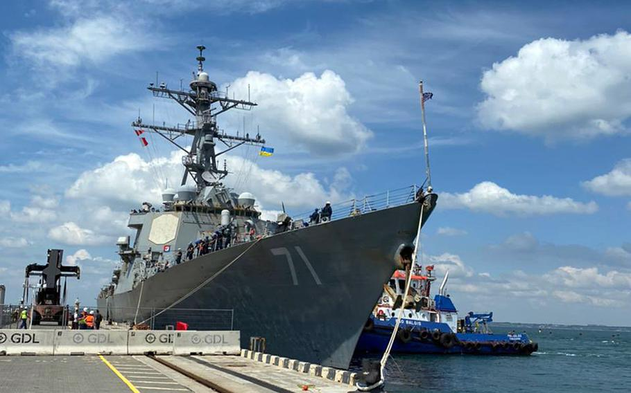 The destroyer USS Ross arrives in Odessa, Ukraine to take part in Exercise Sea Breeze, June 27, 2021. The drills will include 32 nations training together in the Black Sea region.