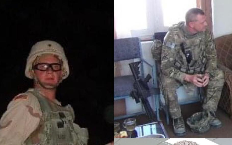 Capt. Eron Lindsey pictured here in Afghanistan in 2004 and 2011. Prompted by the 9/11 terrorist attacks, Lindsey rejoined the military after a 14-year break.