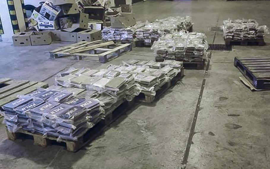 Packets containing cocaine which was hidden in boxes of bananas are seen at Malta Freeport, an international transshipment hub on Malta's southeastern tip, after it was seized by Customs Malta, late Tuesday, June 8, 2021.