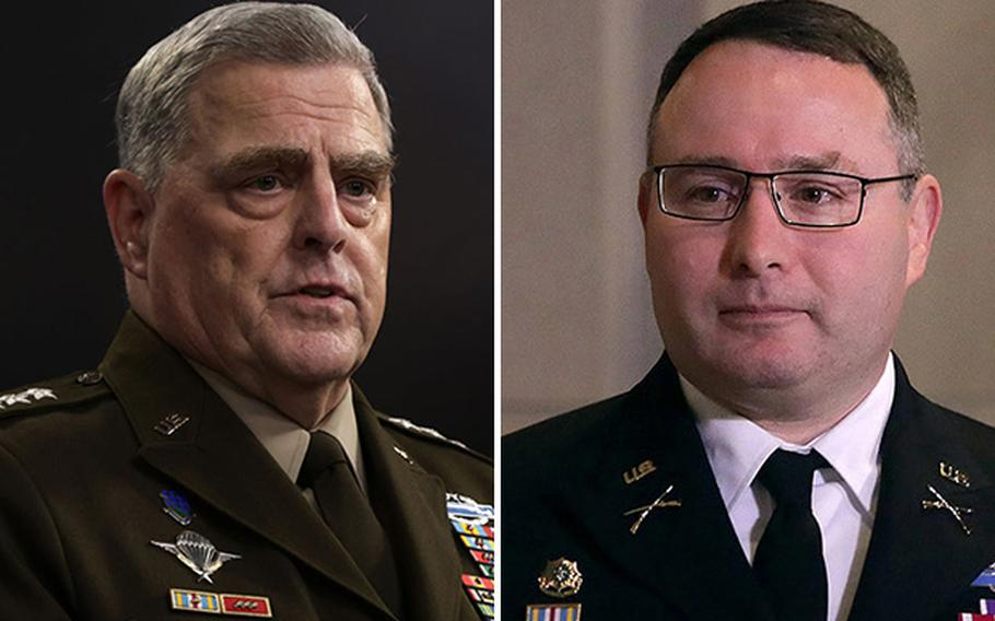 Chairman of the Joint Chiefs of Staff Army Gen. Mark Milley, left, and now retired Lt. Col. Alexander Vindman.