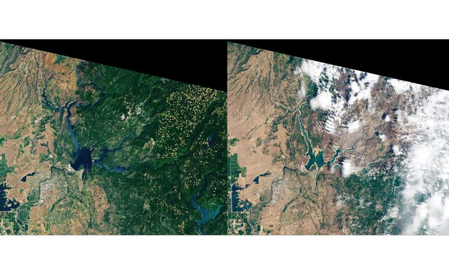 NASA satellite image of Lake Oroville 2019, left, and 2021.