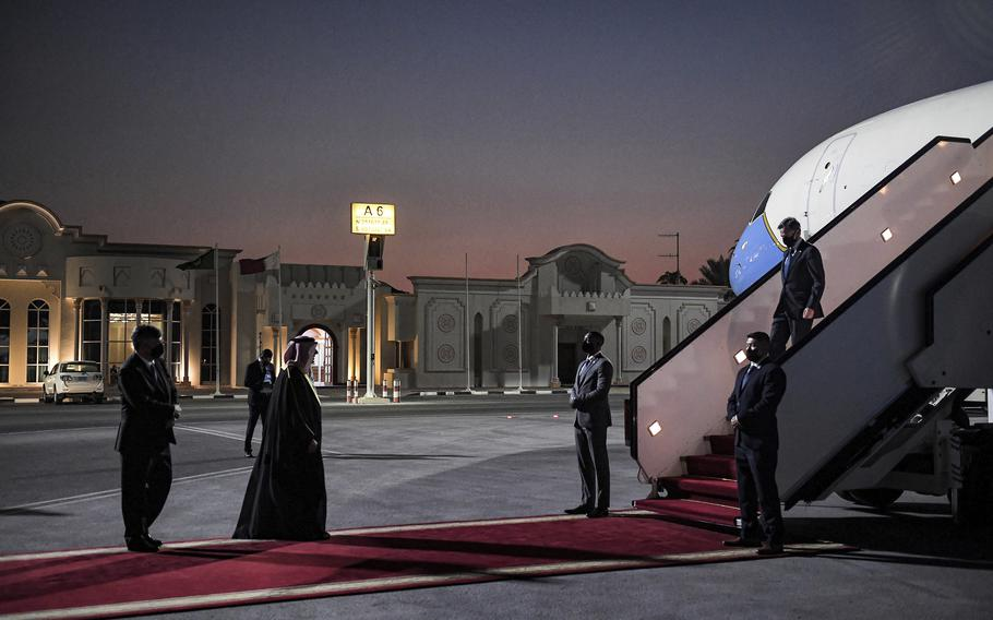 US Secretary of State Antony Blinken, right, arrives at Old Doha Airport in Qatar's capital Monday, Sept. 6, 2021.