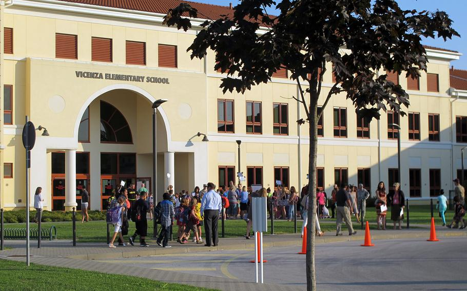 Vicenza Elementary School in Vicenza, Italy. The union for DODEA's southern Europe region and Bahrain says that Department of Defense Education Activity officials have broken an agreement to negotiate in person rather than over Zoom, belatedly citing COVID-19, and highlighting what the union says is a disrespect for teachers.