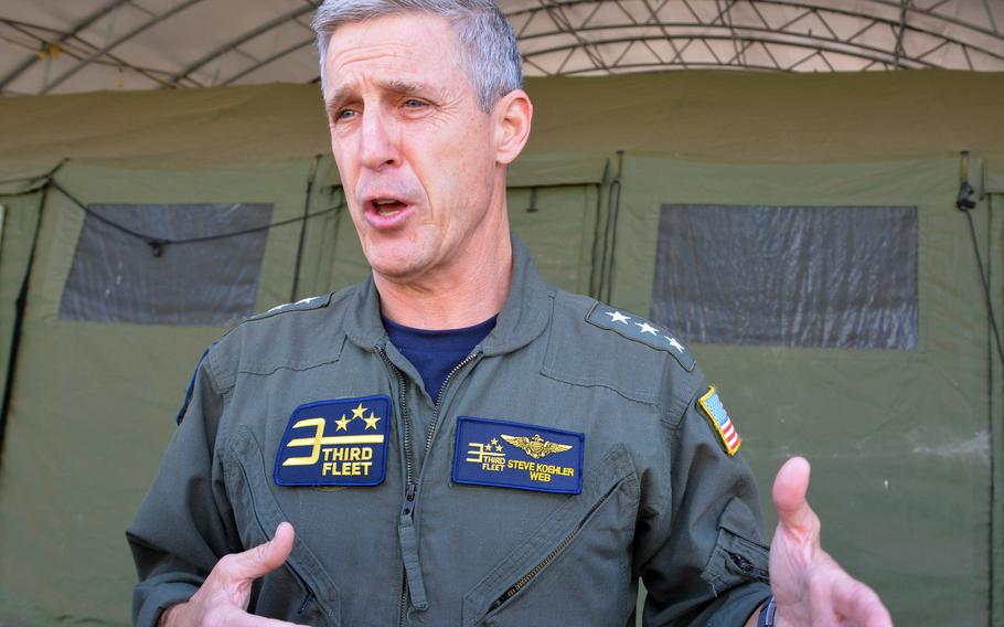 Vice Adm. Steve Koehler, commander of the Navy's 3rd Fleet, speaks with reporters at Joint Base Pearl Harbor-Hickam, Hawaii, Monday, Aug. 9, 2021.