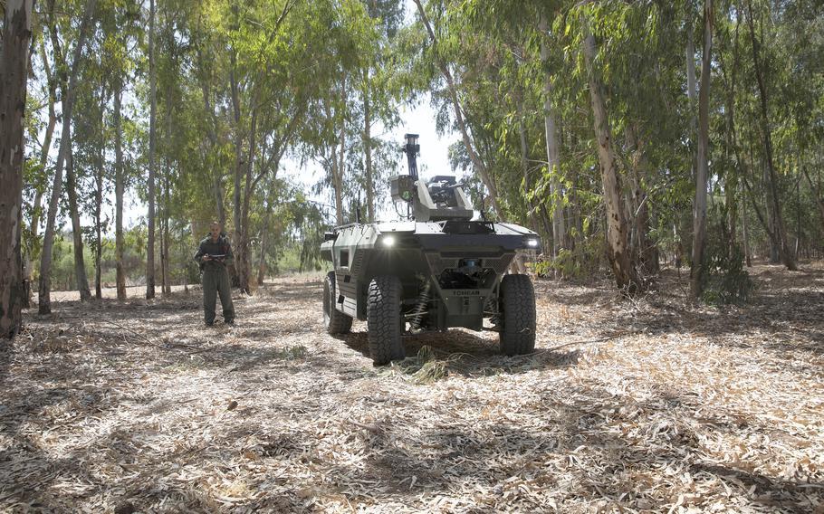 "Israel Aerospace Industries' semi-autonomous four-wheel-drive ""REX MKII"" is seen at an IAI facility near the central Israeli city of Lod, Thursday, Sept. 9, 2021."