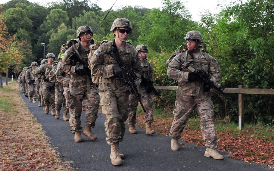 U.S. soldiers with the 2nd Cavalry Regiment march near Vilseck, Germany. Europeans, especially Germans, favor U.S. involvement in European security matters, according to a German Marshall Fund poll released June 7, 2021.