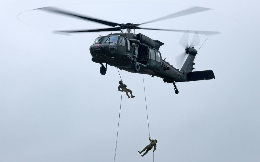 Soldiers from units across Europe take part in an air assault course at Grafenwoehr Training Area, Germany, on Sept. 16, 2021. In a new poll of Americans, nearly half of of those surveyed think the U.S. needs to scale down its military activities abroad.