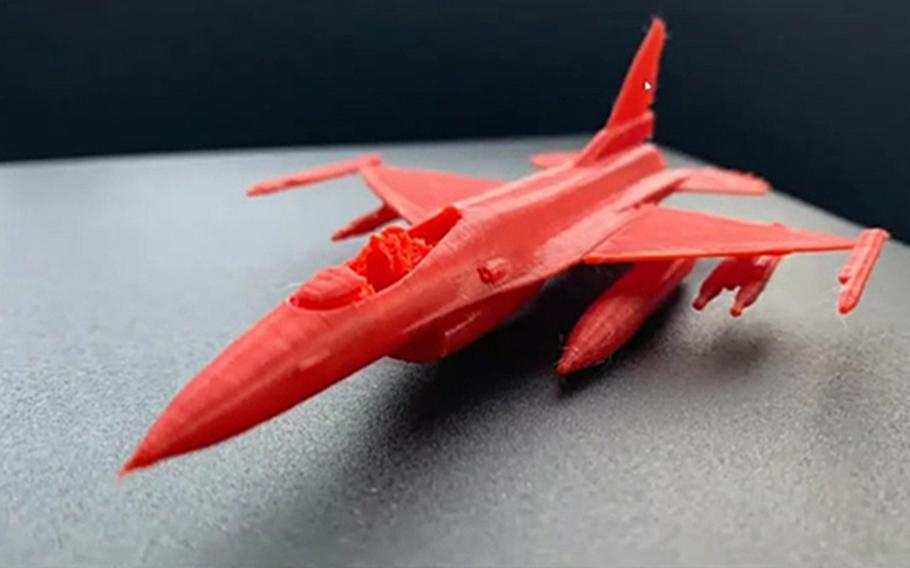 An F-16 Fighting Falcon model was printed from a file that the Air Force plans to publish on its website in October.
