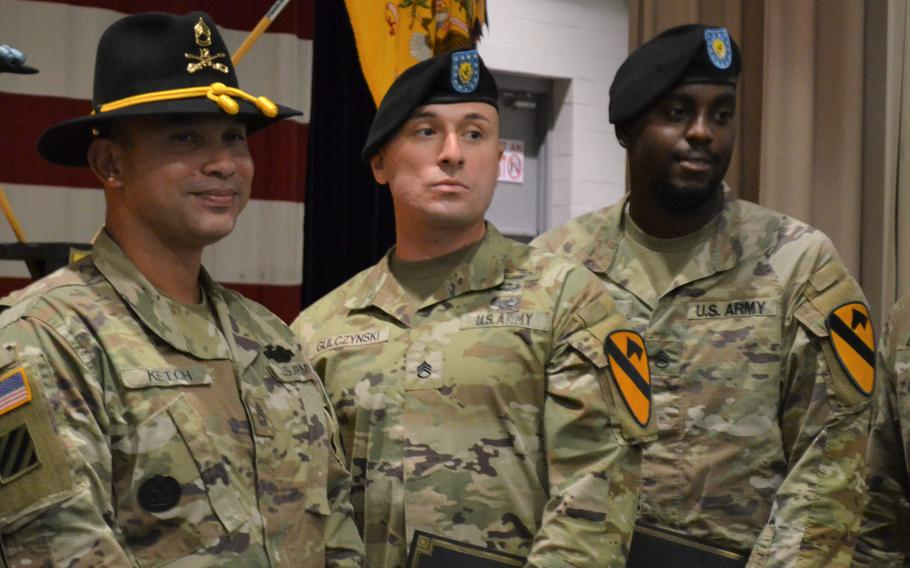 From left, Sgt. 1st Class Nicholas Ketch, Staff Sgt. Stephen Gulczynski and Staff Sgt. Corey Clark, all assigned to the 2nd Battalion, 12th Cavalry Regiment at Fort Hood, Texas, were honored Thursday for intervening when a fellow soldier attempted to die by suicide in June.