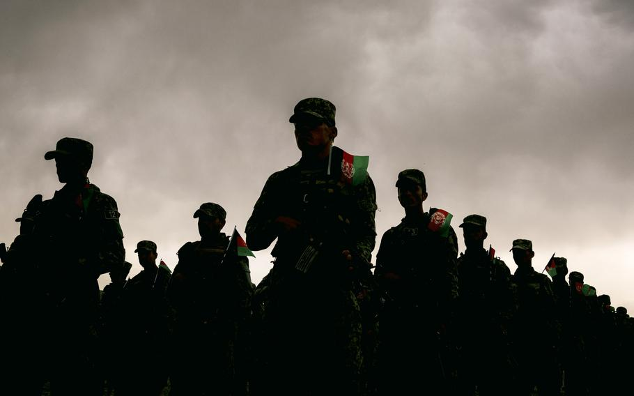 Afghan Security forces parade in a base in Kabul in April 2021.