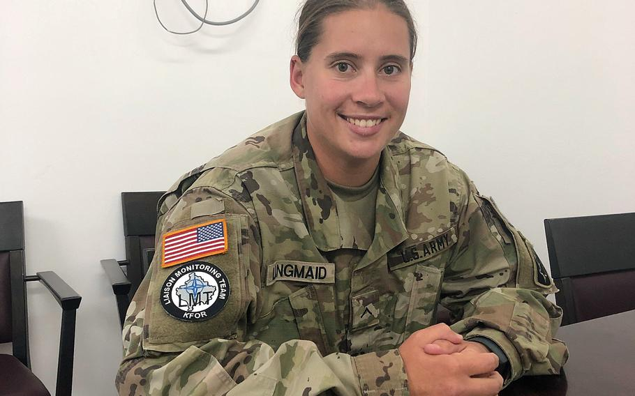 Pvt. Katja Langmaid, 28, from Swanton, Vt., is part of a liaison team monitoring mainly Serb communities living among the majority Kosovo Albanians. Although ethnic tensions still exist, she says both groups seem happy to work with the U.S. forces.