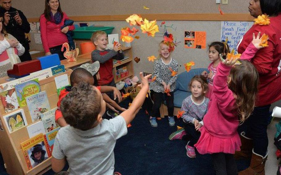 Preschool children from the New Horizons Child Development Center on Wright-Patterson Air Force Base in Dayton, Ohio, attend an event in November 2015.