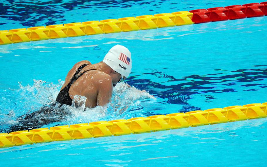 Army Sgt. 1st Class Elizabeth Marks competes in the 200-meter individual medley during the Paralympics at Tokyo Aquatics Centre, Thursday, Aug. 26, 2021.