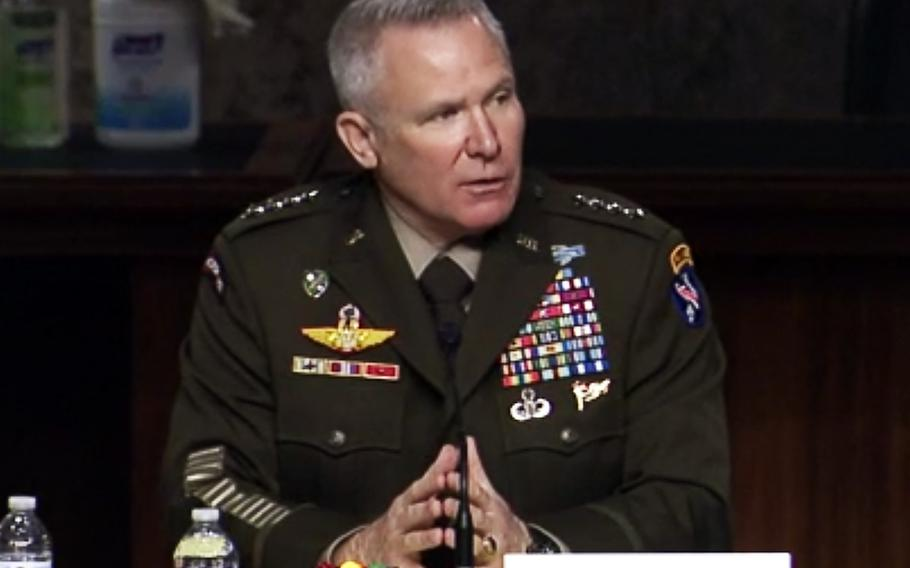 In a screen capture from a video, Gen. Paul LaCamera testifies at a Senate Armed Services Committee hearing on May 18, 2021.