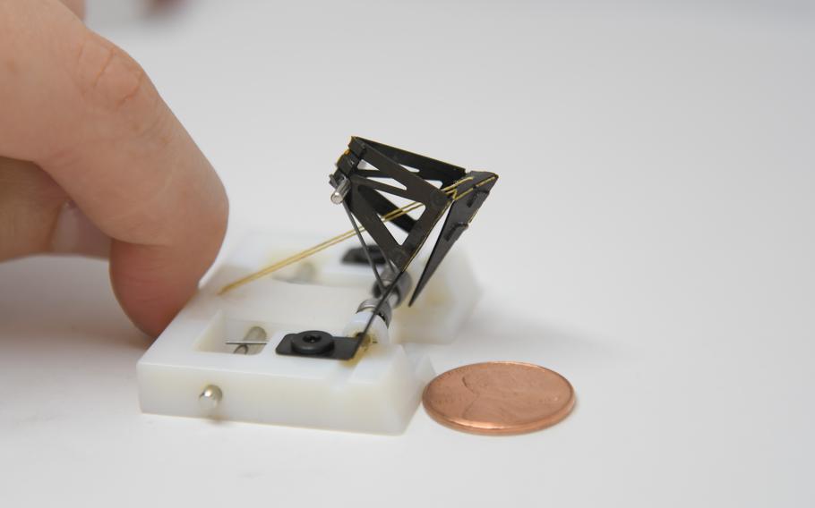 Army funded researchers build a 1.5-gram shrimp-scale robot that mimics the punch of a mantis shrimp.
