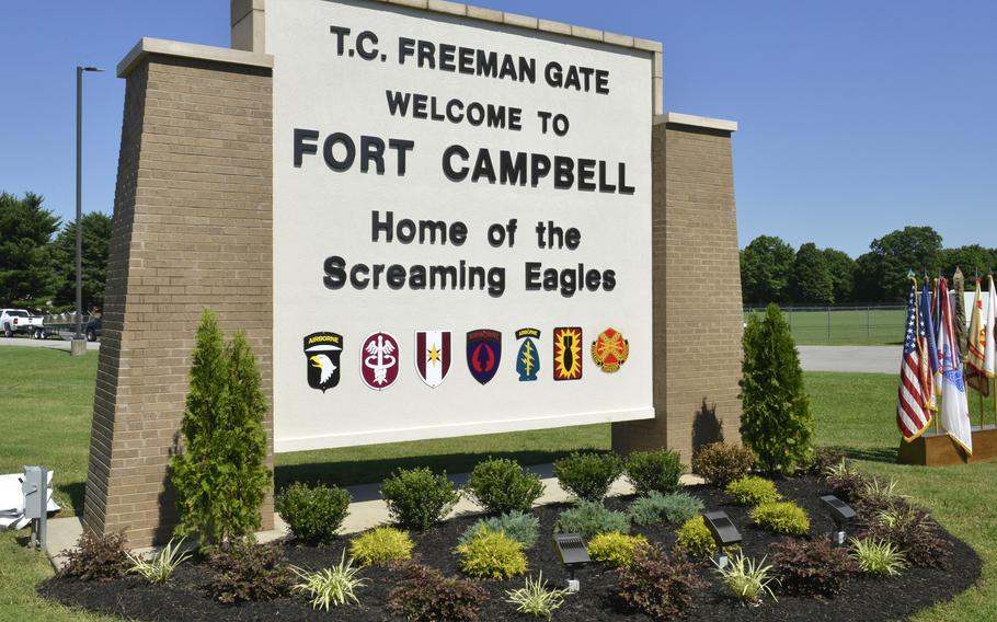 A sign for the T.C. Freeman Gate is seen near the entrance of Gate 4 on Fort Campbell, Ky., June 28, 2016. According to reports on Thursday, Sept. 23, 2021, Army officials announced that a soldier died Tuesday during a diving training exercise.