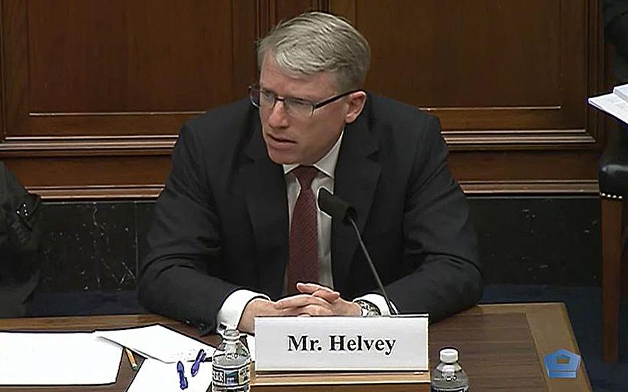 A video screen grab shows David Helvey, acting assistant secretary of defense for Indo-Pacific affairs as he testifies Wednesday, May 12, 2021, during a hearing on Capitol Hill in Washington.
