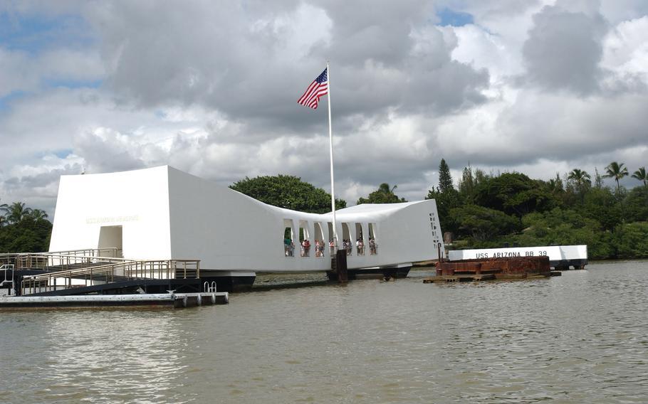 The USS Arizona Memorial on December 5, 2003, at Pearl Harbor in Honolulu, Hawaii.