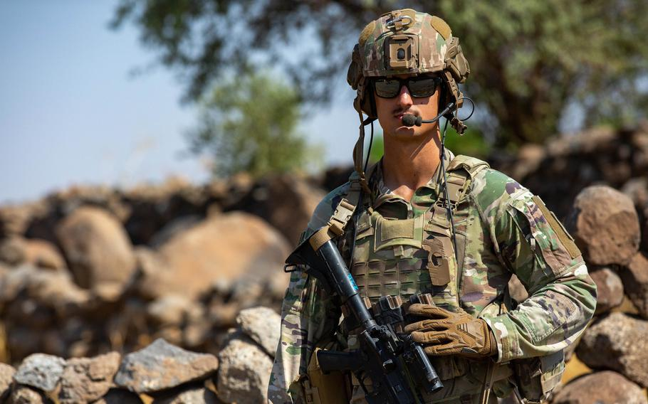 A 256th Infantry Brigade Combat Team soldier conducts reconnaissance in Syria on Aug. 9, 2021. The U.S.-led coalition battling the Islamic State group recently killed or captured terrorists and associates of ISIS in Syria.