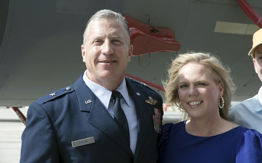 Brig. Gen. David Eaglin, the newly minted 18th Wing commander, poses with his wife, Alexia, near an F-15C Eagle that bears his name at Kadena Air Base, Okinawa, Friday, July 16, 2021.
