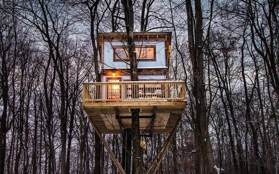 """This undated photo provided by The Mohicans Treehouse Resort and Wedding Venue shows """"Tin Shed"""" at The Mohicans Treehouse Resort and Wedding Venue in Glenmont, Ohio."""